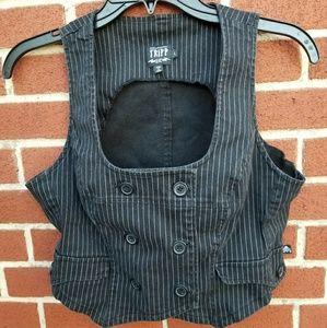 Black and Grey Pinstripe Tripp Vest